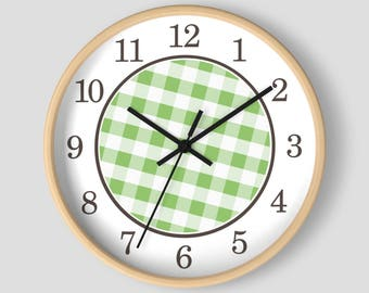 Green Gingham Wall Clock - Pattern in Green and White with Wood Frame - 10-inch Round Clock - Made to Order
