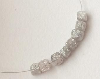 7 Pcs Grey Diamond Box Cubes, Natural 3.5-4mm Grey Drilled Rough Diamond Cube Beads, Raw Diamond, Uncut Diamond - PUSVD28