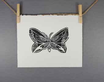 Hand pulled Butterfly Linocut Art Print 8x10