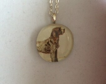 Wire Haired Pointing Griffon dog Art Glass Pendant Necklace - dog lover gift