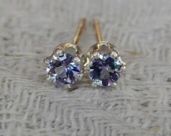 Tanzanite 3mm Studs, Tanzanite Stud Earrings, Tanzanite Earrings, Tiny Tanzanite Posts, Tanzanite Post Earrings, AAA Grade Natural Tanzanite