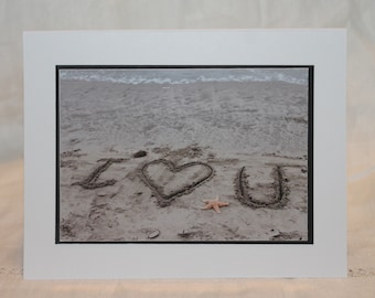 photo card, photography, I love you, sand writing photograph
