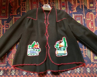 Vintage Style Swing Jacket with Mexican hand embroidery