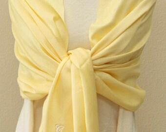 Sale slightly defect soft light yellow pashmina scarf, bridesmaid wrap, bridal shawl, bridesmaids gifts personalized