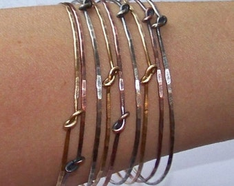 Mixed Metal Bangles - 9 Bangle Bracelets - 3 Silver 3 Copper 3 Brass - NATURAL Shine or OXIDIZED Knotted Classic Bangles