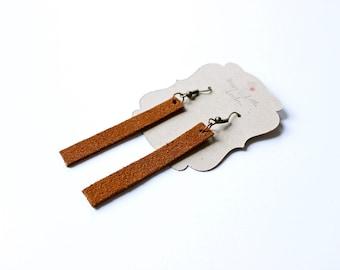 Long brown leather earrings, rectangle earrings, suede earrings
