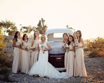 Simple Short Bridesmaid Dresses Taupe Color