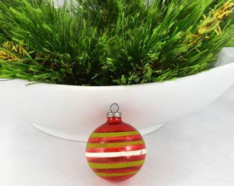 Vintage Red Unsilvered Christmas Ornament, Glass Ornament With Green And White Stripes Made In US Of A
