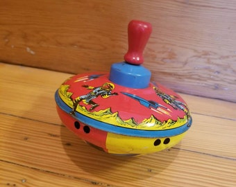 Vintage Tin Litho Spinner Top Toy Space Adventures  Red Blue Yellow Tin Litho Toy