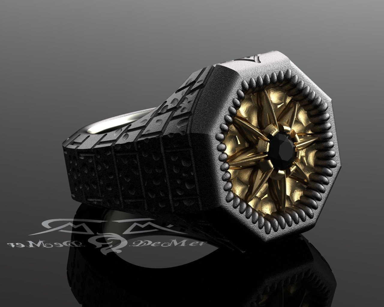 North star compass rose black diamond ring Urban explorer