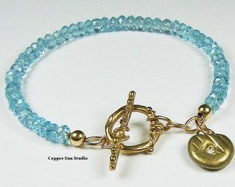 Natural Aquamarine Bracelet with Gold Artisan Toggle, Blue Aquamarine Stone, March Birthstone, Aquamarine Jewelry, Dainty Gemstone Bracelet