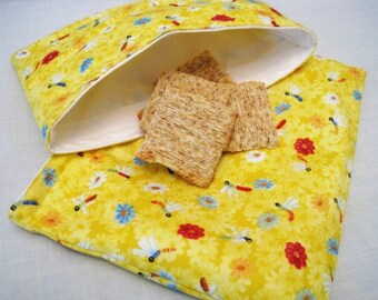 Yellow Dragonflies Reusable Sandwich and Snack Bag Set