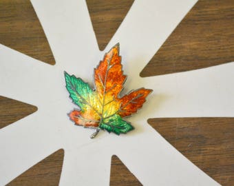 1950s Sterling and Enamel Autumn Leaf Brooch