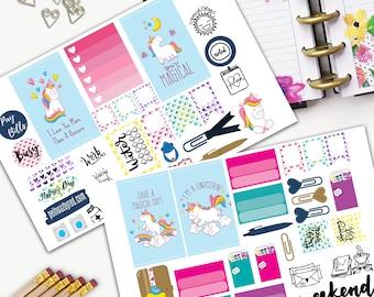Fabulous Unicorn Theme Planner Weekly Sticker SMALL Kit, CLASSIC Happy Planner Sticker, Weekly Set, Stickers, Printed, Wings, Rainbow