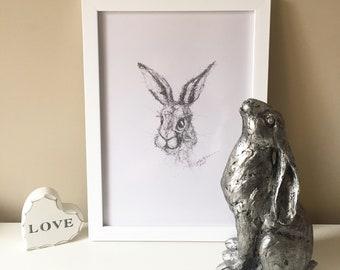 Crazy bunny rabbit / hare. Pencil drawing sketch print.
