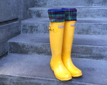 SLUGS Boot Liners Navy With A Holiday Plaid, Gift For Her, Christmas Gift, Rain Boots, Boot Socks, Warm Socks, Inserts, Winter (Med/Lg 9-11)