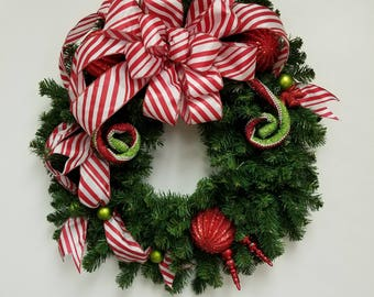 Christmas Wreath, Front door wreath, Holiday Decor, Holiday Wreath, Home and Living, Candy cane bow