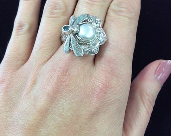 Sterling Silver Dragonfly Pearl & Topaz ring