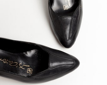 80s Black High Heels | Vintage Pumps | Black Leather Heels | Women's Shoes Size 5.5 US / Euro Size 36