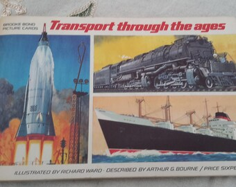 Trading cards, Brooke Bond Tea, Transport through the ages, animals, wagons, trains, planes and boats.