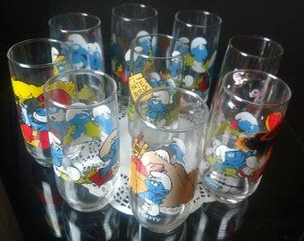 Vintage Smurfs Drinking Glasses