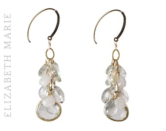 Elizabeth Marie Signature Wedding Earrings on 14K Gold Filled French Earwire with white moonstone, quartz, and gold-rimmed sweetheart quartz