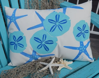 "THE SHELL COLLECTOR outdoor pillow sand dollars sea stars seashells lumbar 15""x20"" (38x50cm) ocean coastal deck patio Crabby Chris Orignal"