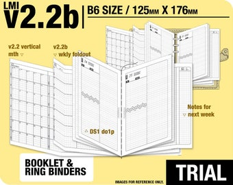 Trial [B6 v2.2b w ds1 do1p] July to September 2018 - Filofax Inserts Refills Printable Binder Planner Midori.