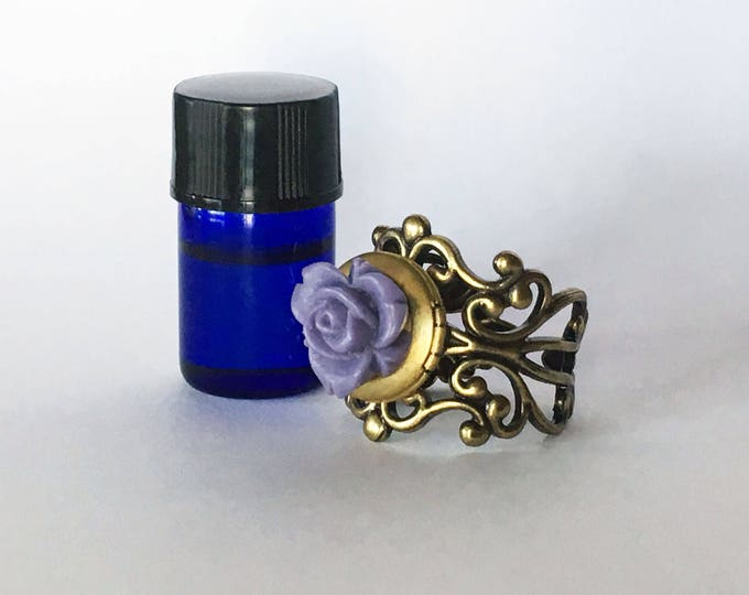 Featured listing image: Brass Filigree and Flower Aromatherapy Diffuser Rings - Essential Oil Jewelry - Healing Potion Carrier - Romantic Feminine Gift