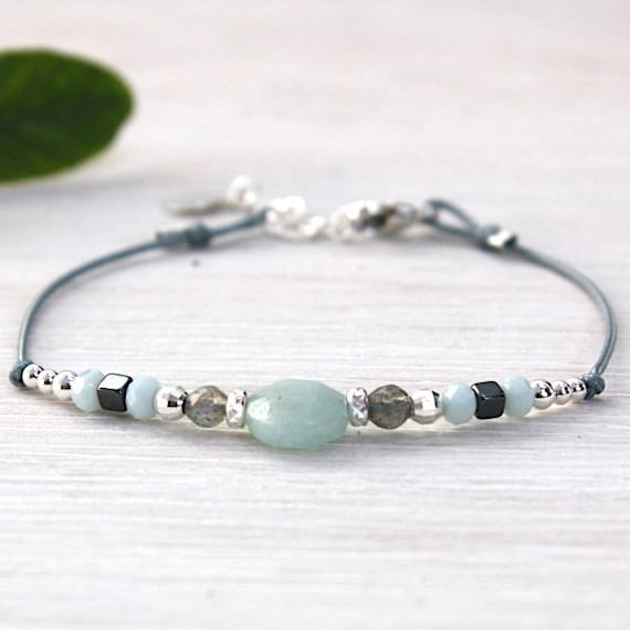 Bracelet 925 sterling silver beads and amazonite gem stone bead