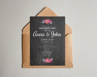 Chalk Board Black & White Colourful Flowers Engagement Party Cocktail Invitation