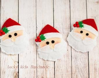 Christmas Hair Clip, Santa Claus Hair Clip, Felt Santa Hair Clip, Santa barette, Christams hair accessory, Girls hairclip, Holiday Hair Clip