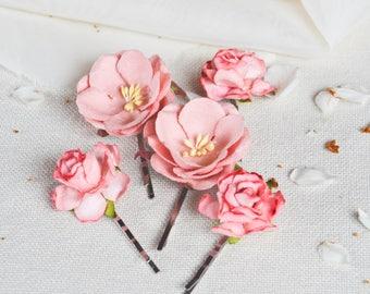Coral Silk Paper Hair Flowers, Bridal Hair Clips, Wedding Accessories, Wedding hair clip, Bridal hair pins, Wedding hair, Set of Five.