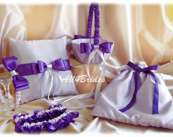 Purple and lavender weddings ring pillow, flower girl basket, garters, wedding dance bag and flower girl hair accessory