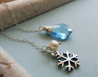 READY TO SHIP, Snow Queen Lariat Necklace, Ice Blue Swarovski crystal, pearl and Snowflake charm, Sterling silver