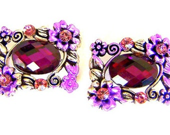 Sparkly purple 2 hole beads, fuchsia rectangular faceted glass, bridal jewelry slider beads, magenta pink sliders, qty 2