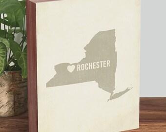 Rochester NY - Rochester NY Map - Rochester New York - Wood Block Art Print