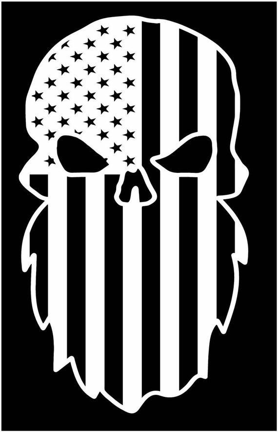 American flag diesel beard bearded skull sticker decal truck