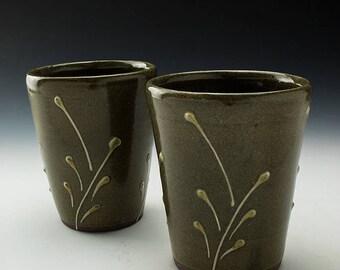 Stoneware Tumbler - 16oz - Celadon with Leaf Moitif