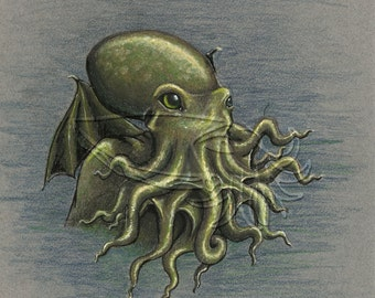 Cthulhu and the Sea, 4x5 Print on Fugi Crystal Archive Matte - Unframed