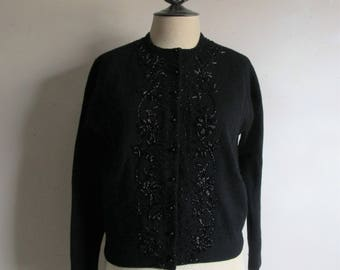 Vintage 1960s Cardigan Rockabilly 60s Wool Black Floral Beaded Knit Sweater 38 Small