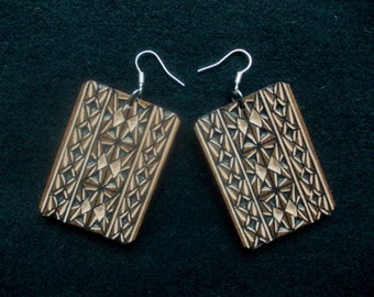 Hand carved leather earrings - tooled leather jewelry