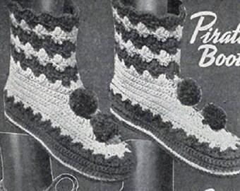 Pirate Slipper Boots Pattern , Crochet Pattern, Vintage Pattern, Retro