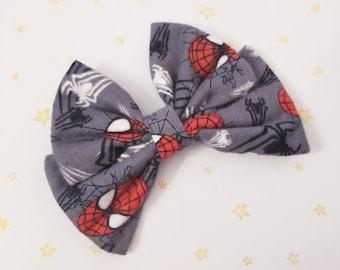 Kawaii Spiderman Comic Book Hair Bow Clip - Fairy Kei Decora Pastel Goth Harajuku inspired