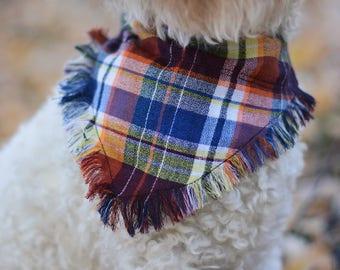 Frayed over the collar dog bandana / fall bandana / dog bandana /pet bandana / over the collar / puppy bandana / slip on dog bandana