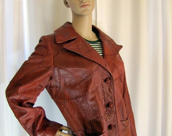 1960's Bohemian Jersey Crown Whip Stitch Midi Rust Leather Jacket, Women's Small, Rust, Midi, Leather, Jacket, Whip Stitch, Boho, Hipster