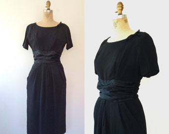 1950s dress / vintage cocktail dress / Evenfall dress