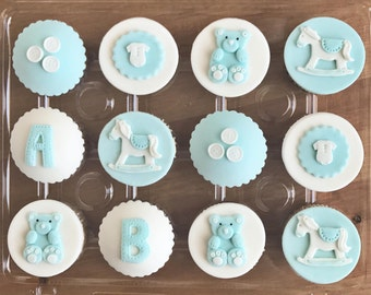 Baby Welcome / Baby Shower Fondant Cupcake Toppers (Includes TeddyBear, Rocking Horse, Buttons, Onesie, Letters)