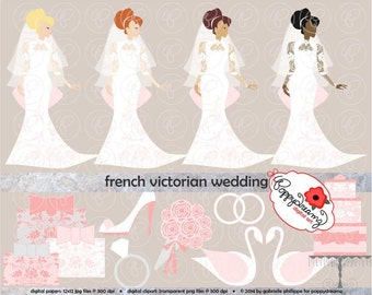 French Victorian Wedding: Clip Art Pack (300 dpi transparent png) Wedding Bride Bridal Shower Dress Wedding Cake Bouquet