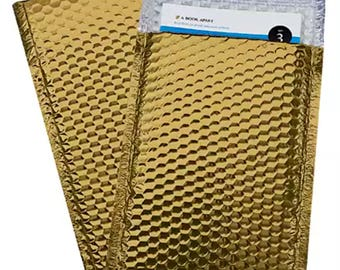 10 - Glamor Metallic Gold Poly Bubble Mailers Envelopes  4x8 Extra Wide